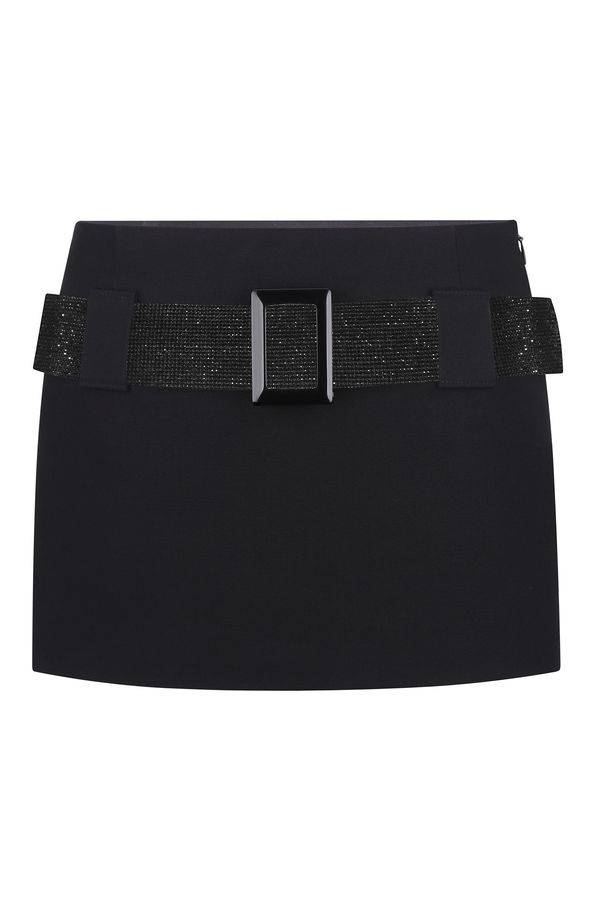 Mini skirt with rhinestone belt