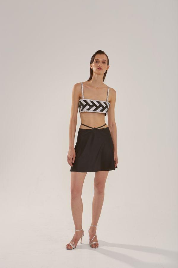 Шелковая юбка мини