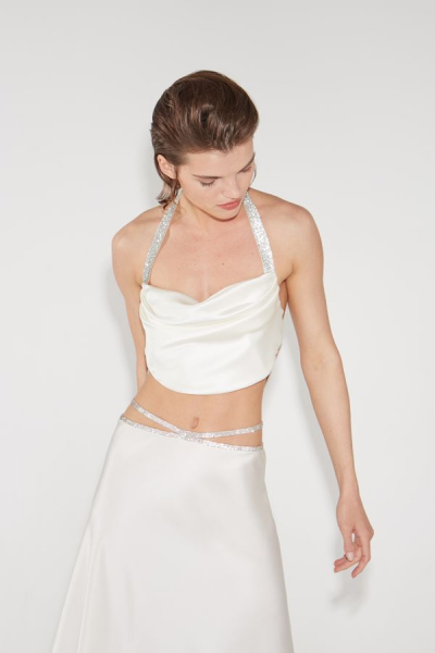 silk top with crystal ribbons
