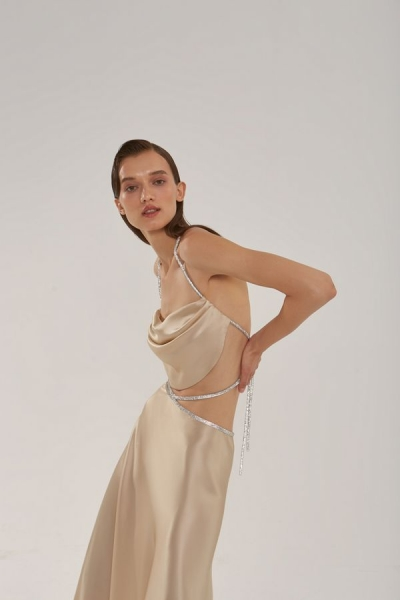 Silk top with crystal cord